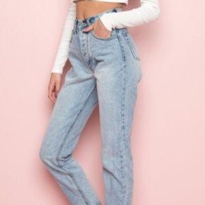 Brandy Melville Rise Frayed Hem Jeans